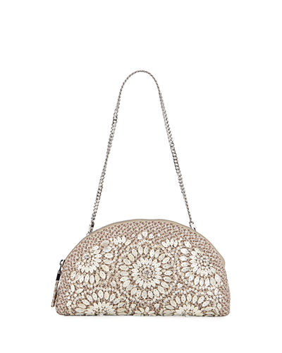 Sandra Embellished Half-Moon Clutch Bag