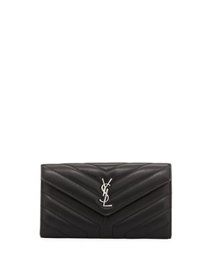 d6157ffdb985 Saint Laurent Loulou Monogram YSL Continental V-Flap Wallet