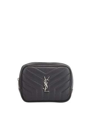 LOULOU MONOGRAM YSL SQUARE QUILTED LEATHER COSMETICS CASE