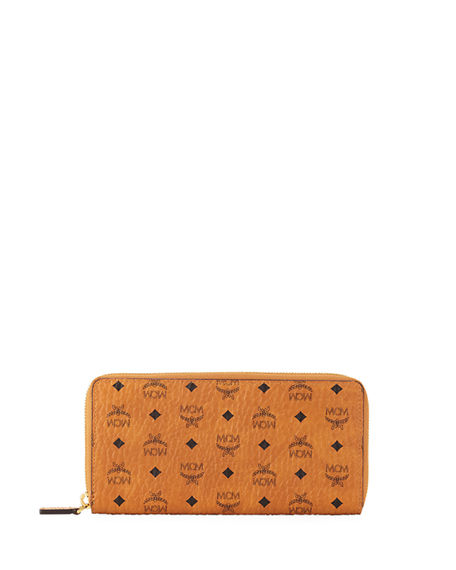 MCM Logo-Embossed Large Zip Wallet