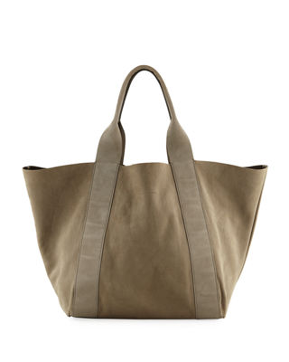 Image 1 of 4: Reversible Leather Tote Bag, Dark Green