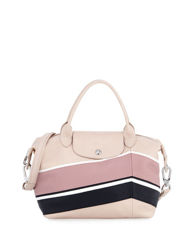 Le Pliage Cuir Chevron Small Handbag with Strap