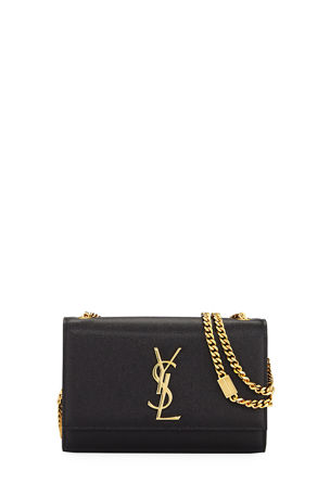 Saint Laurent Kate Small YSL Monogram Grain de Poudre Crossbody Bag on Chain