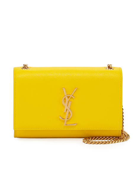 Saint Laurent Kate Monogram Ysl Small Grain Leather Crossbody Bag In Yellow d4d6a28884