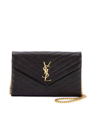 Saint Laurent Matelasse Monogram Wallet on Chain