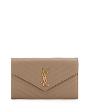 76f19245b32 Saint Laurent Matelasse Monogram YSL Wallet on Chain