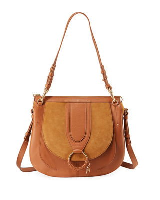 Hana Small Textured-Leather And Suede Shoulder Bag, Brown