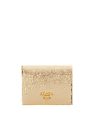 Prada Metallic Saffiano Leather Fold-Over Wallet