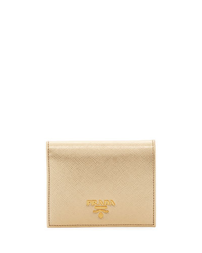 Metallic Saffiano Leather Fold-Over Wallet