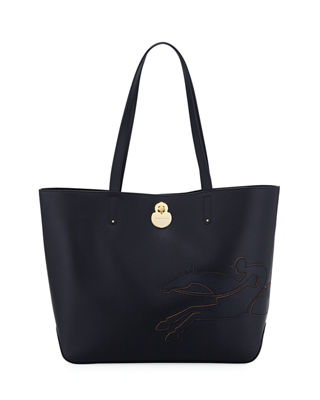 Image 1 of 3: Shop-It Medium Leather Tote Bag