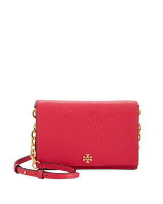 Georgia Leather Flap Shoulder Bag in Bright Azalea