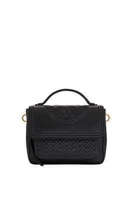 Fleming Quilted Leather Top Handle Satchel - Black