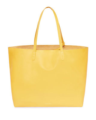Oversized Lamb Leather Tote Bag in Yellow