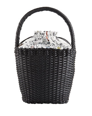 LILY WOVEN LEATHER TOP-HANDLE BASKET BAG