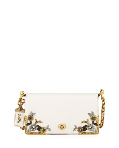 Dinky Tea Rose Metal-Flower Crossbody Bag