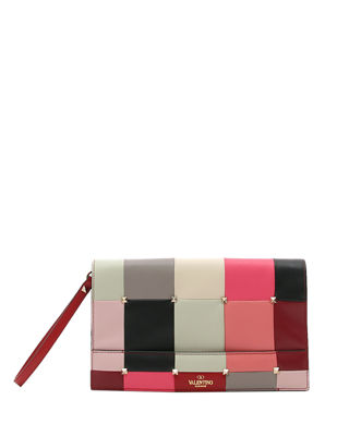 PuzzleStud Quilted Leather Clutch Bag