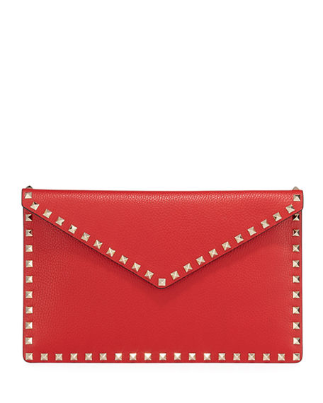 Valentino Garavani Rockstud Large Envelope Clutch Bag