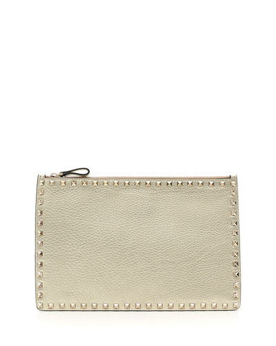 Valentino Garavani Rockstud Large Flat Metallic Clutch Bag