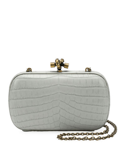 Chain Knot Crocodile Clutch Bag