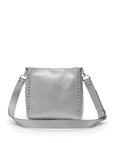 Rockstud Small Metallic Leather Hobo Bag