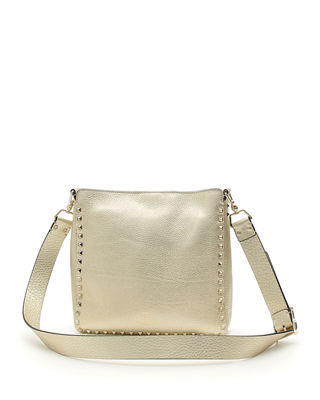 Image 3 of 3: Rockstud Small Metallic Leather Hobo Bag