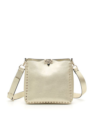 Image 1 of 3: Rockstud Small Metallic Leather Hobo Bag