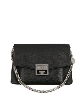 Gv3 Medium Pebbled Leather Shoulder Bag - Silvertone Hardware in Black