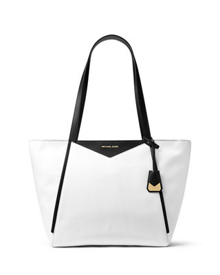 Large Colorblock Leather Shoulder Tote Bag
