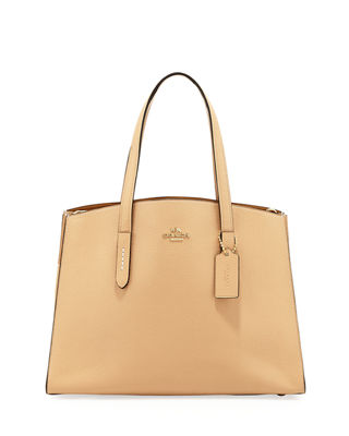 Charlie Polished Pebbled Leather Carryall Tote Bag in Yellow