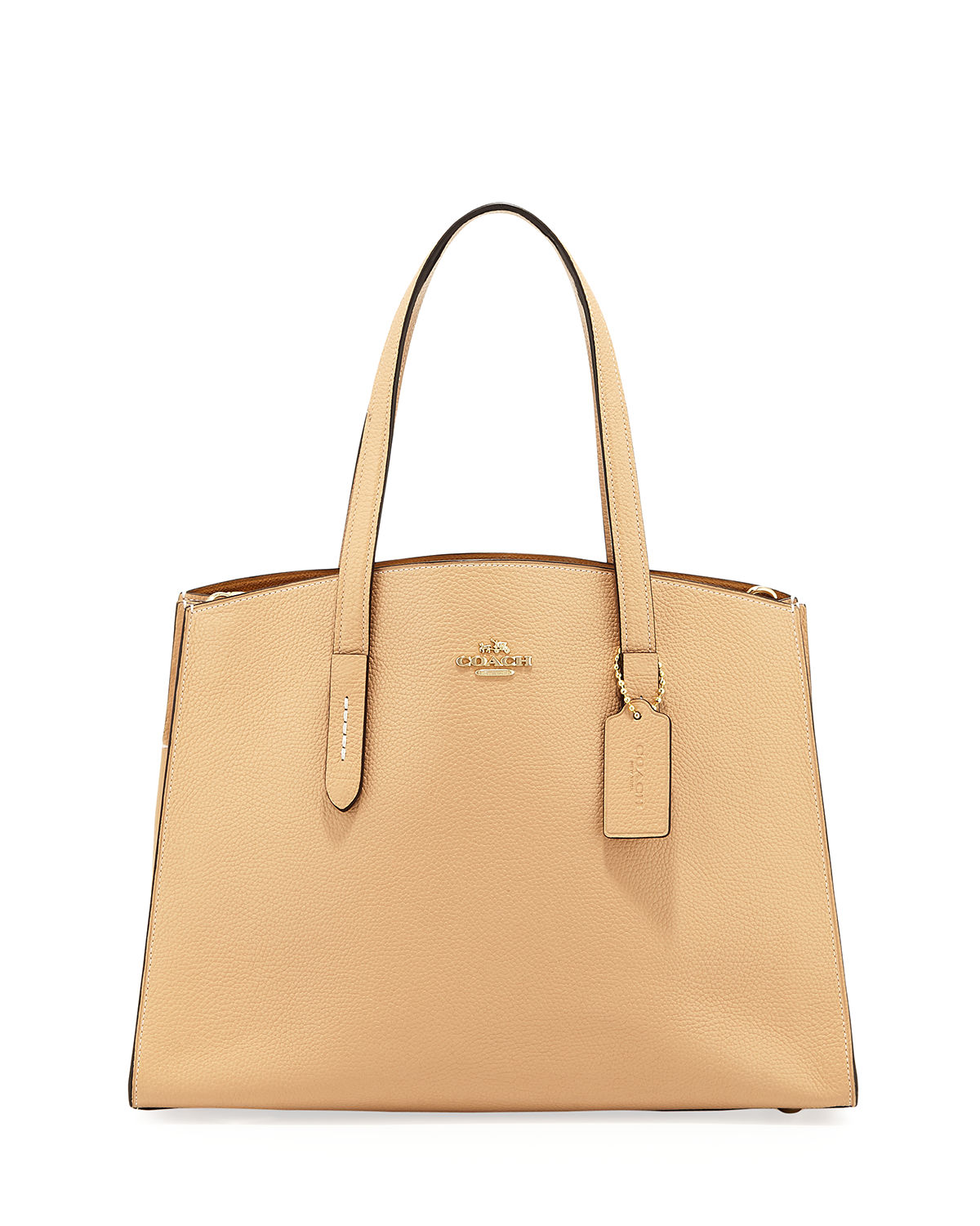 Luxefinds Fashion Shopping Engine Coach Swagger 20 In Pebbled Leather Peach Charlie Polished Carryall Tote Bag