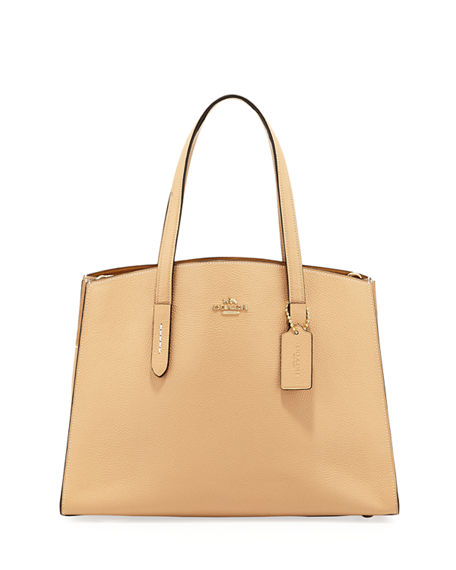 Coach  CHARLIE POLISHED PEBBLED LEATHER CARRYALL TOTE BAG