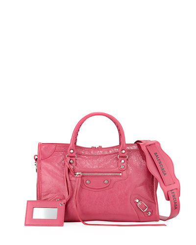 Classic City Small Leather Tote Bag with Logo Strap