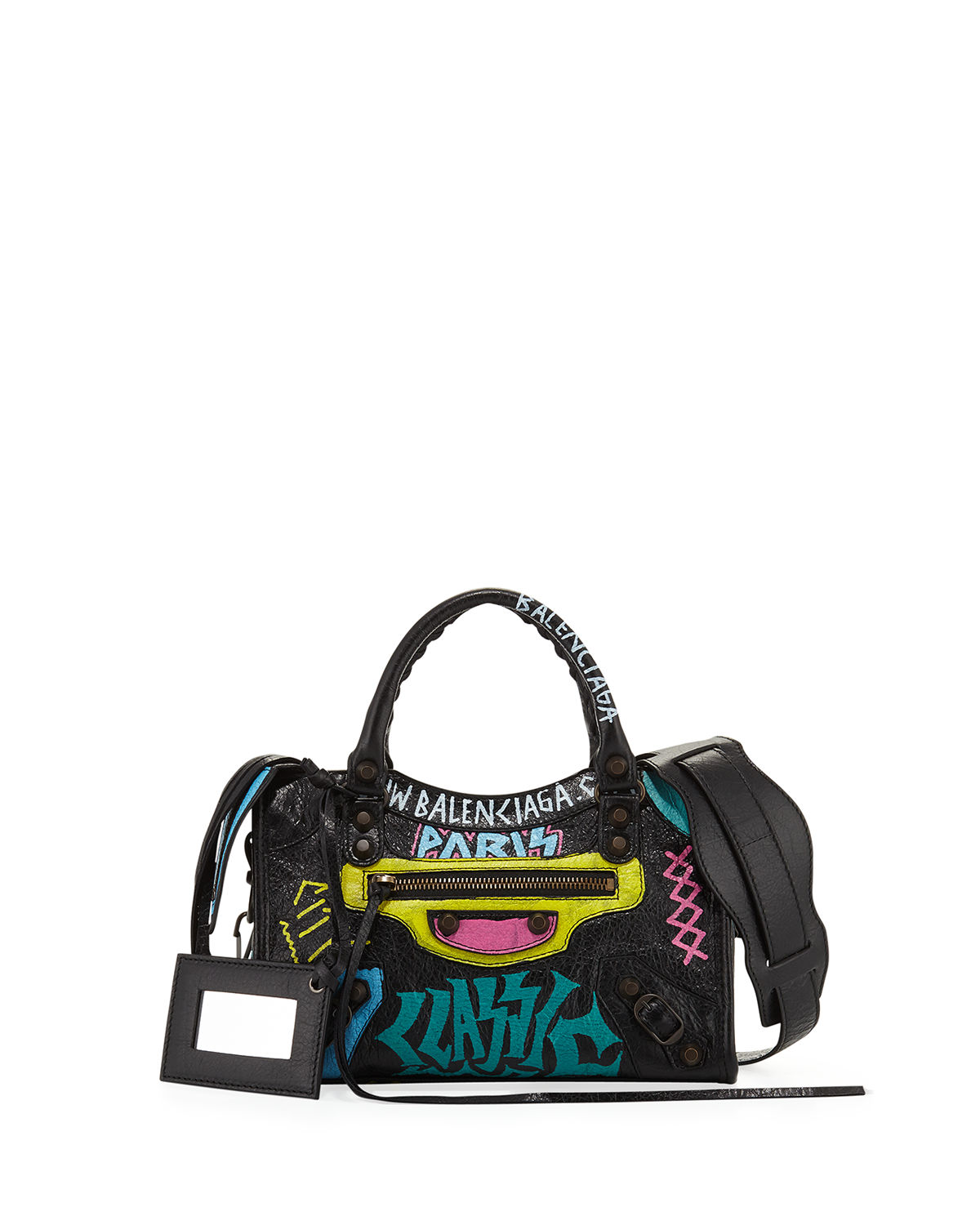 b044445f90 Balenciaga Mini City Graffiti-Print Satchel Bag | Neiman Marcus
