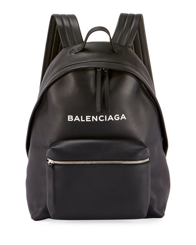 Logo-Print Leather Backpack