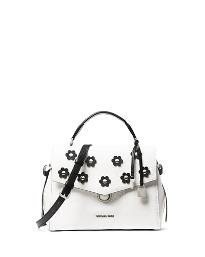 Bristol Two-Tone Medium Satchel Bag with Flowers