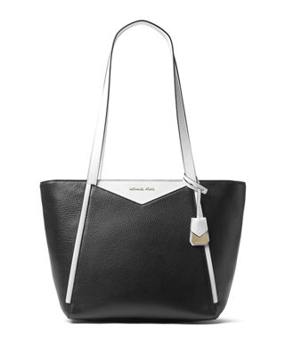 Image 1 of 2: Whitney Two-Tone Leather Shoulder Tote Bag