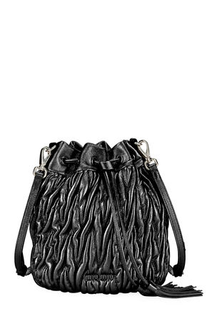 Miu Miu Matelasse Leather Drawstring Bucket Bag