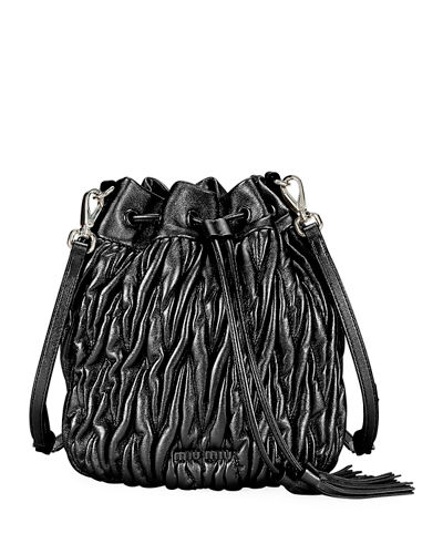 Matelasse Leather Drawstring Bucket Bag