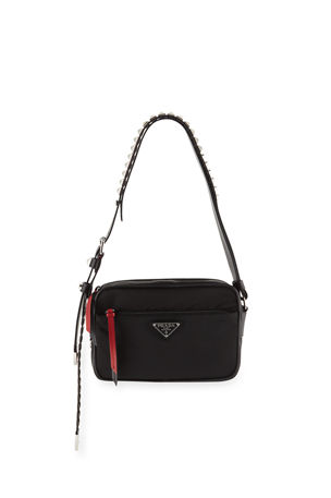 Prada Prada Black Nylon Shoulder Bag with Studding