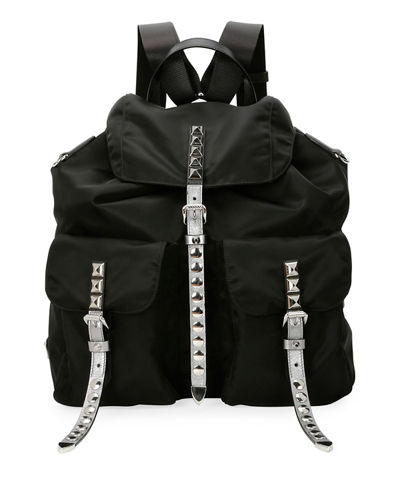 Prada Black Nylon Backpack with Studding