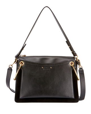 Roy Medium Leather And Suede Shoulder Bag, Black