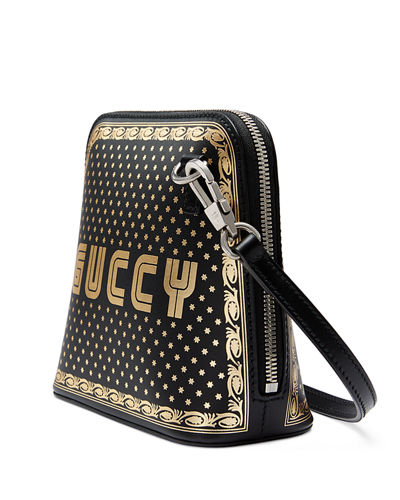 Guccy Script Dome Leather Crossbody Bag