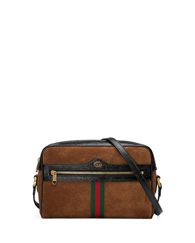Ophidia Medium Suede Camera Crossbody Bag