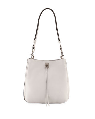 Darren Deerskin Leather Shoulder Bag - Black, Light Gray
