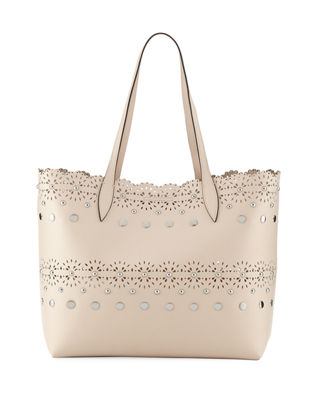 Image 1 of 3: Cutout Structured Leather Tote Bag