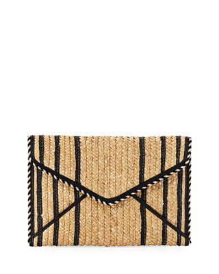 Leo Straw Envelope Clutch Bag
