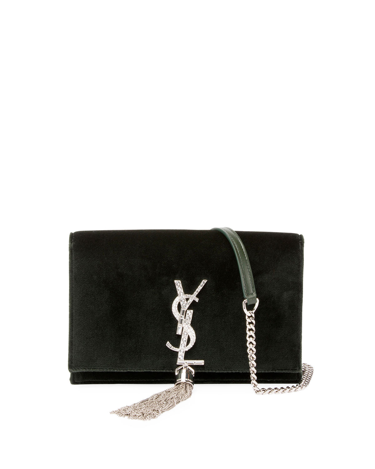 c21552d6f69 Saint Laurent Kate Velvet Crystal-Monogram YSL Tassel Wallet on Chain