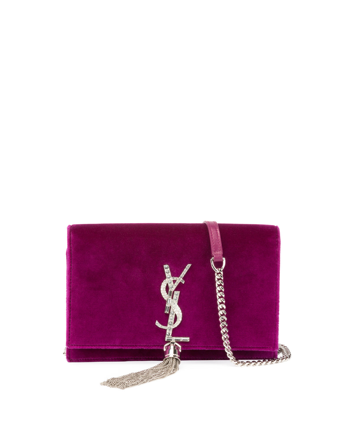 Kate Velvet Crystal-Monogram Tassel Wallet on Chain