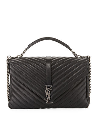 Saint Laurent College Large Quilted Leather V-Flap Shoulder