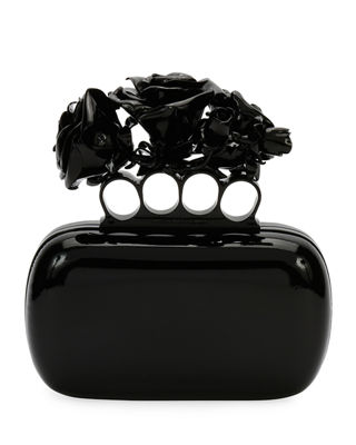 Patent Roses Knuckle Clutch Bag